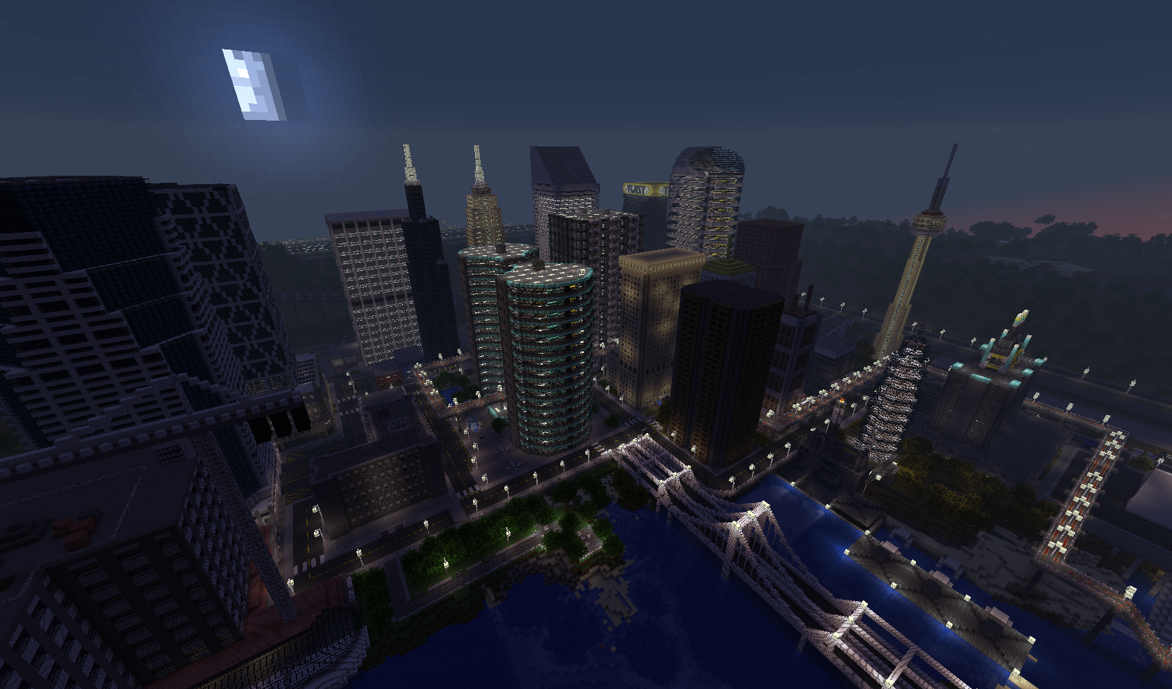 Map-ville-newcraft-vecter-city-minecraft-nuit