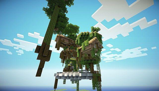 Minecraft-map-ville-village-flontant-dans-les-arbres