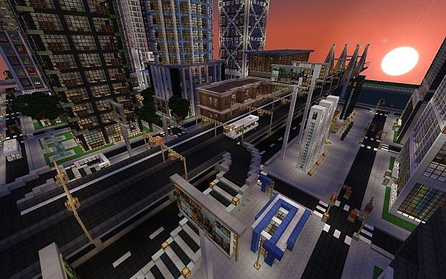 Minecraft-map-ville-moderne-New-Crafton-centre-ville