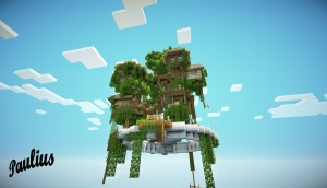 Minecraft-map-ville-village-flontant-dans-arbres-les