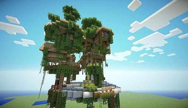 map-Minecraft-ville-village-flontant-dans-les-arbres