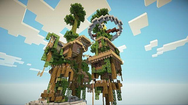 Minecraft-ville-map-village-flontante-dans-les-arbres