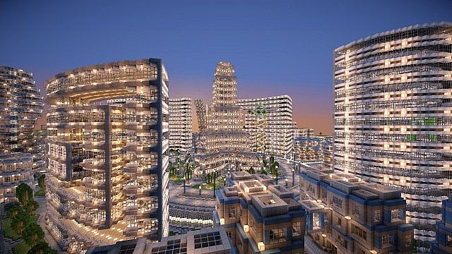 minecraft-map-ville-moderne-futuristic-city-building