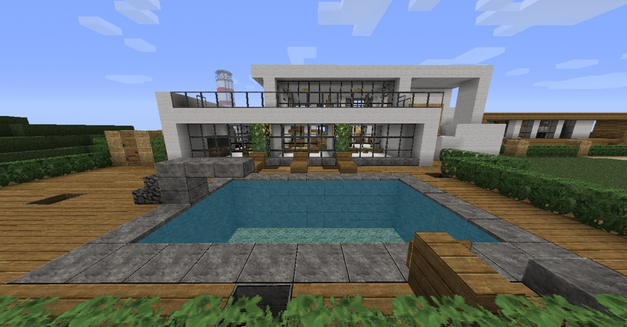 Maison Simple Avec Piscine Minecraft : Top des maisons minecraft aventure