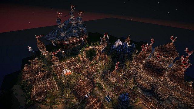 minecraft-map-ville-medievale-nuit