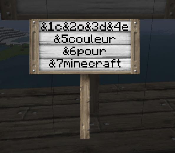 code couleur pour minecraft   minecraft