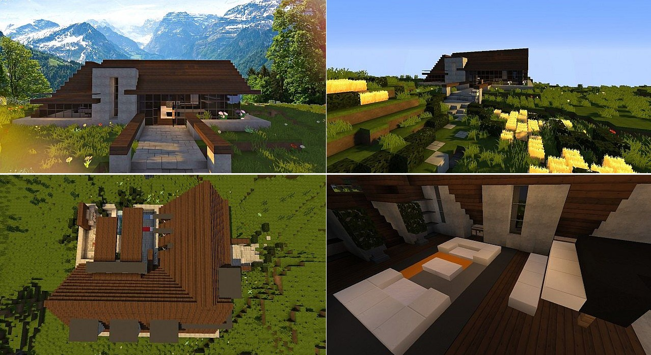 Top 5 des maisons modernes minecraft minecraft for Decoration maison minecraft
