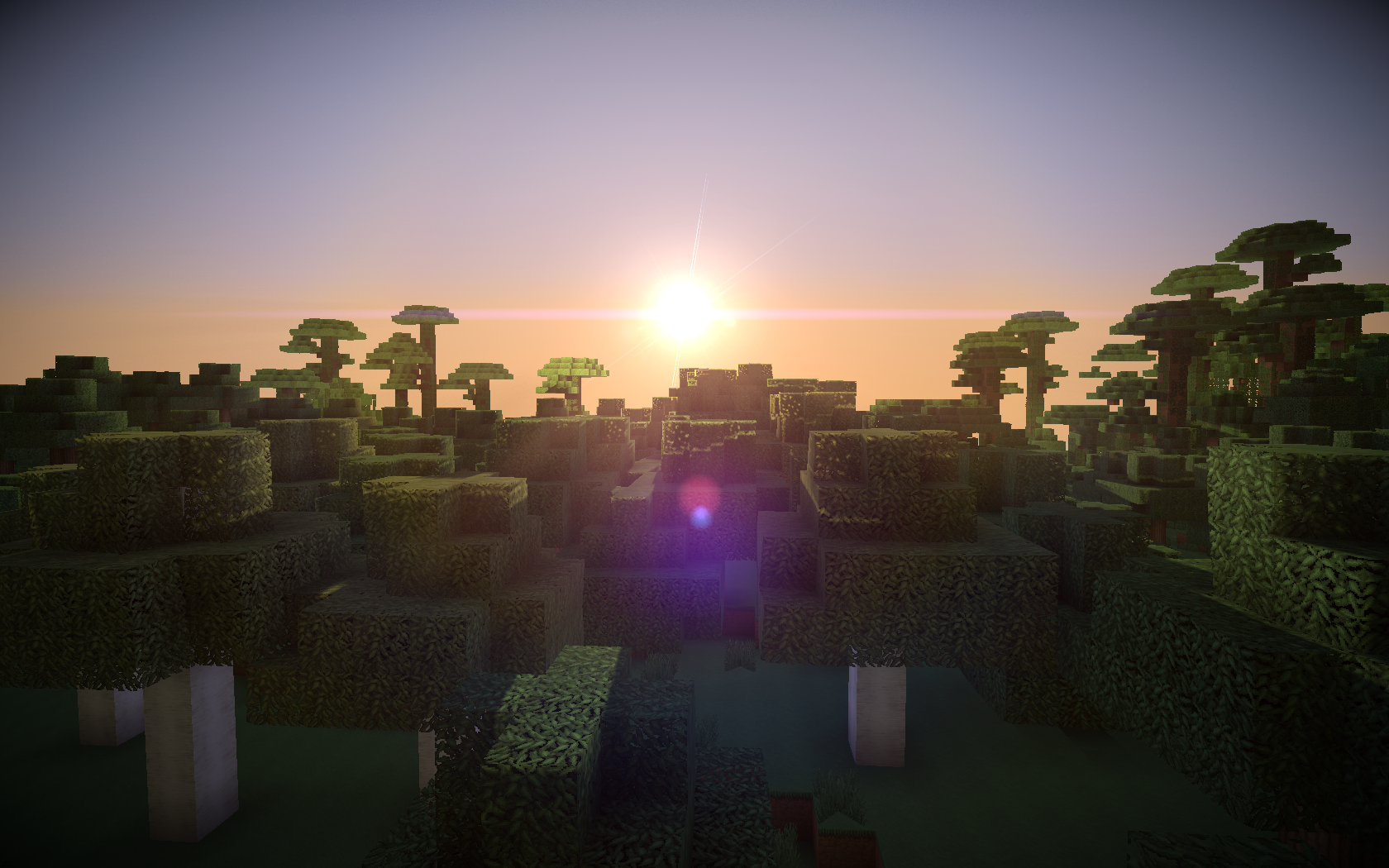 fond-d-écran-minecraft-coucher-soleil