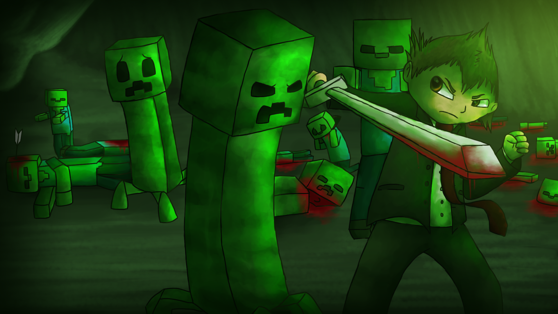fond-d-écran-minecraft-creeper