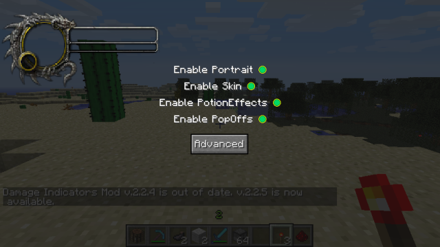 minecraft-mod-Damage Indicators-parametrage