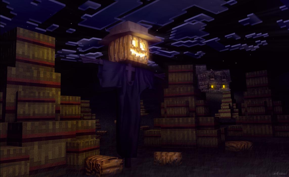 fond-d-écran-minecraft-epouvantail-halloween
