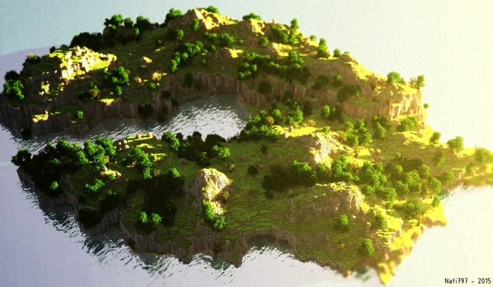 minecraft map customise cliff side ile