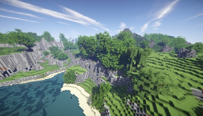 minecraft map customise cliff side rivage