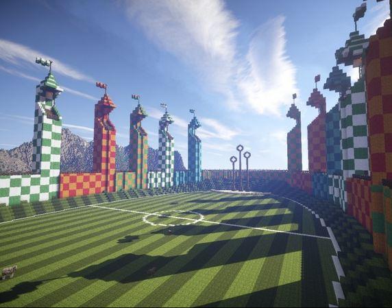 Quidditch pitch stade minecraft - Video minecraft construction de fou ...