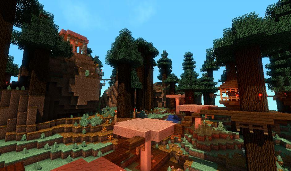 minecraft map pvp chivalcraft champ de bataille, automne