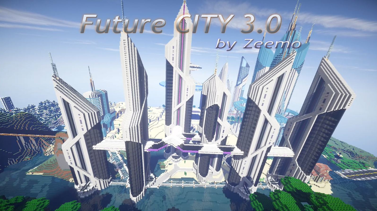 minecraft map future city 3.0 gratte ciel vue du ciel