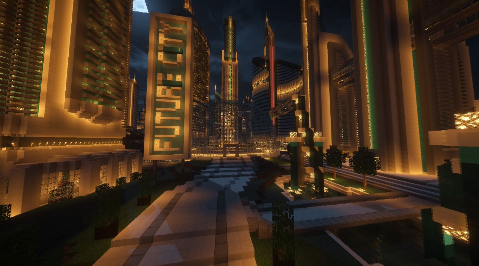 minecraft map future city 3.0 ville de nuit