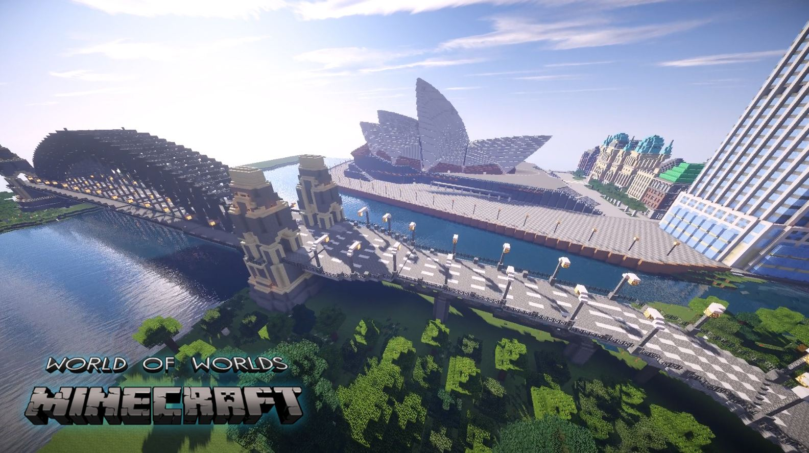 minecraft map monument impressionnant world of worlds opéra de Sdyney