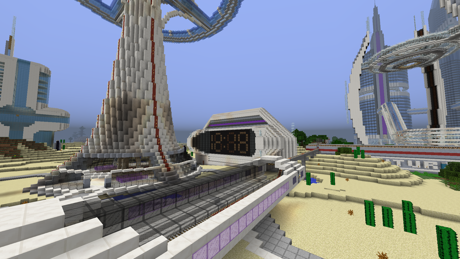 minecraft map ville future city 3.0 horloge
