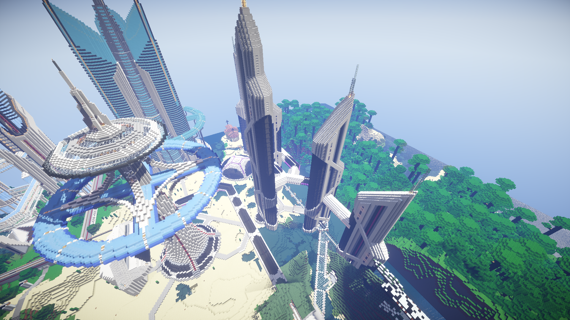 minecraft map ville future city 3.0 vu par en haut