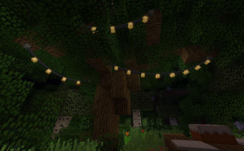 minecraft mod fairy lights guirlande dans les arbres