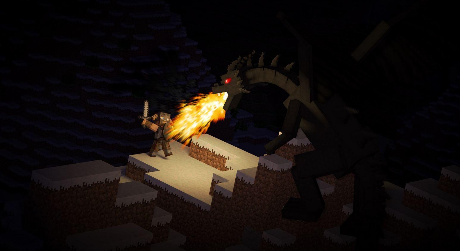 Fond d'ecran minecraft ender dragon en plein combat