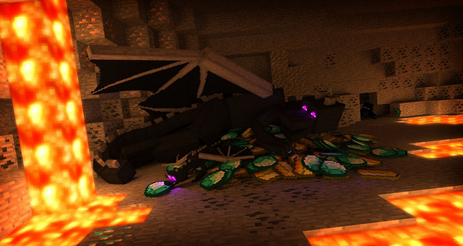 Fond d'ecran minecraft ender dragon et son trèsor
