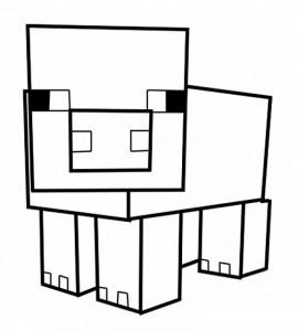 Cochon minecraft à colorier