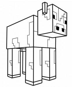 coloriage d'une vache de minecraft