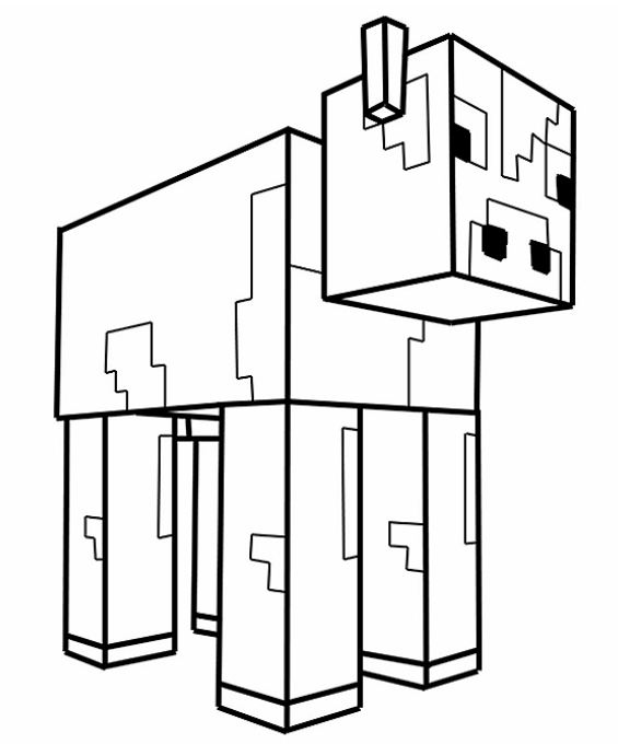 Coloriage d 39 une vache de minecraft minecraft - Dessin d une vache ...