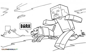 dessin minecraft personnage steve + loup