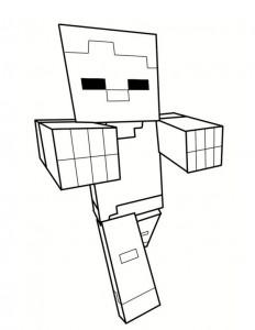dessin minecraft personnage zombie à colorier