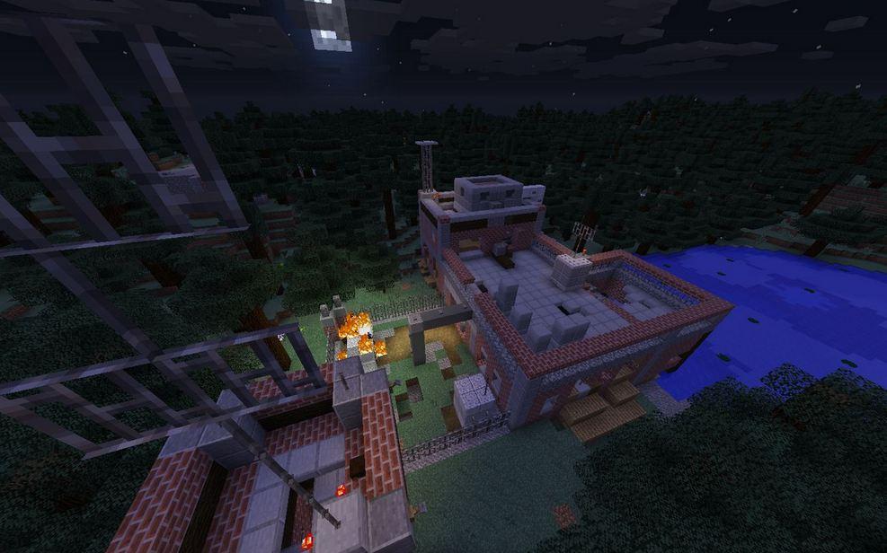 minecraft map survie 1.9 zombie settlement survie vue d'en haut