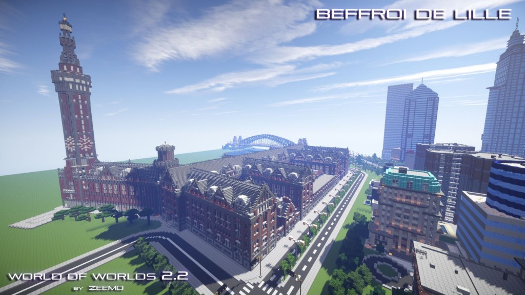 minecraft map world of world beffroi de lille