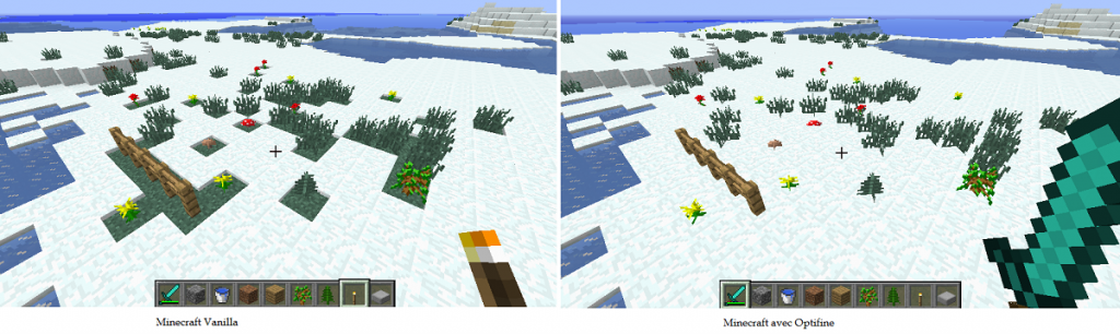 minecraft optifine amelioration de l'aspect de la neige