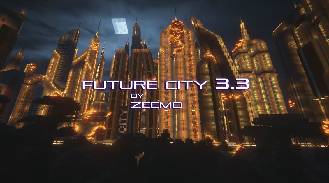 Minecraft map ville future city 3.3 immeuble de nuit en feu