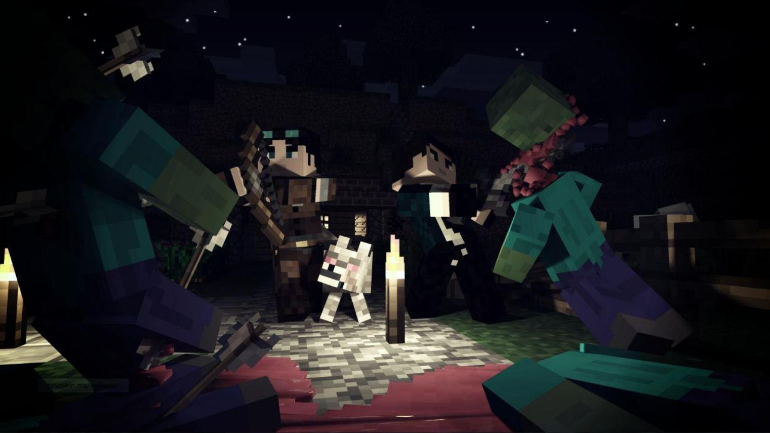 Combat entre joueurs et monstres wallpaper minecraft