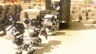 Fond d'écran amusant représentant du pvp dans minecraft façon Call Of Duty
