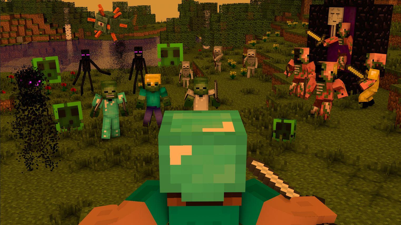 Fond d'écran minecraft  avec un joueur entouré de créature prêtes à se battre