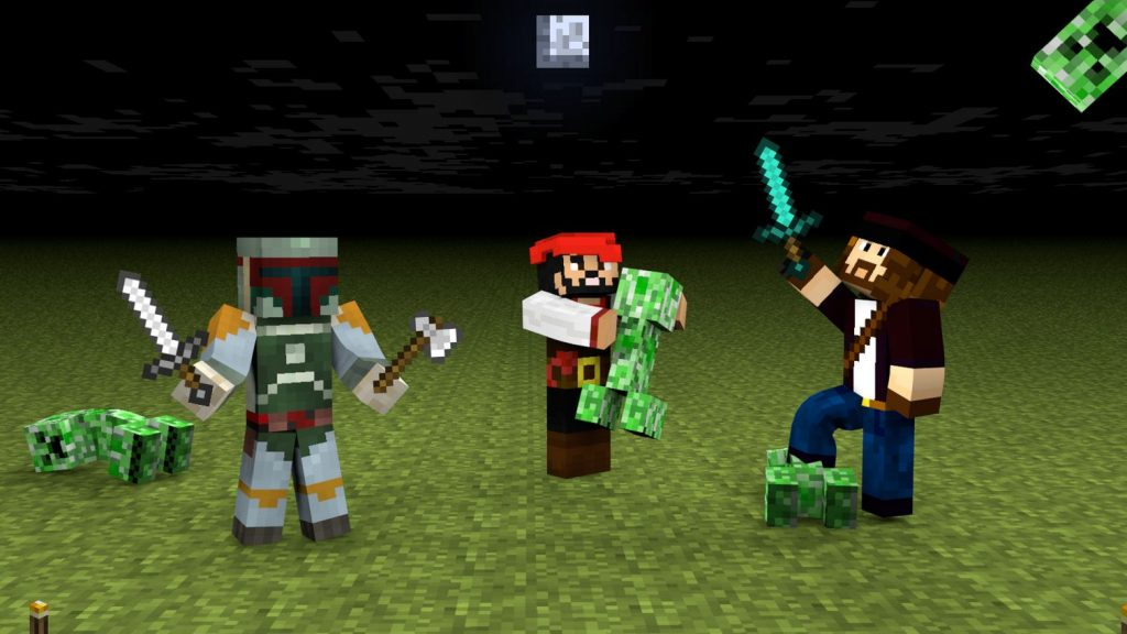 fond d'ecran minecraft creeper contre pirate