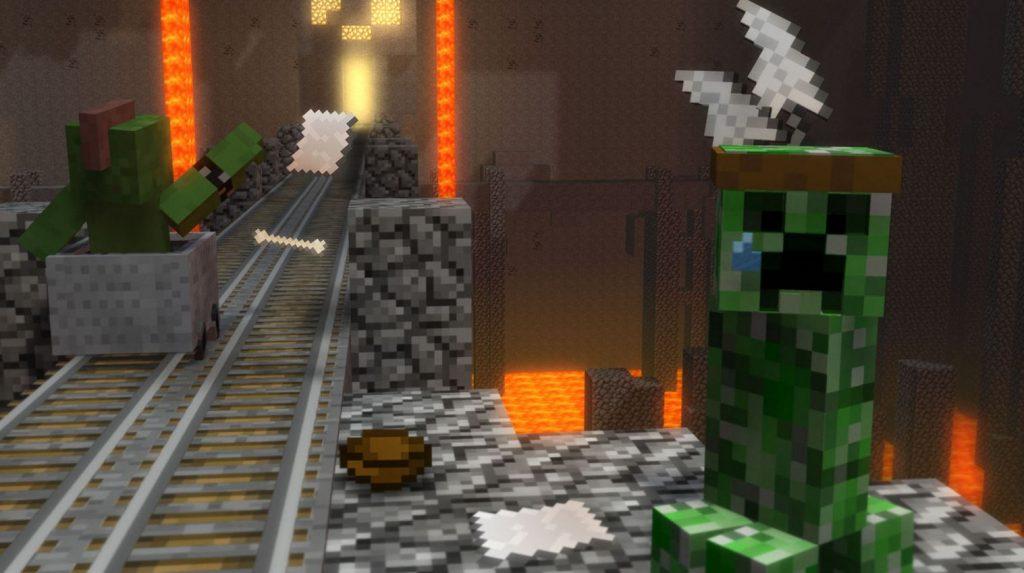 fond d'ecran minecraft creeper dans les mines
