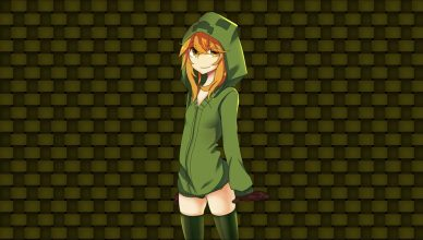 fond d'ecran minecraft creeper girl