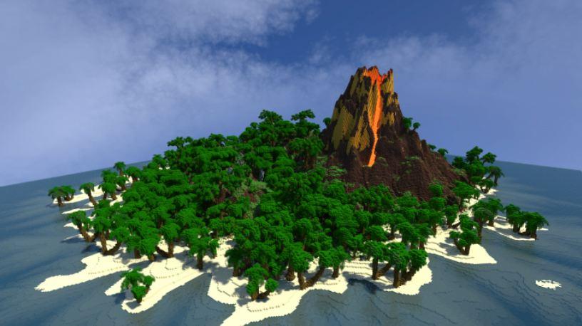 minecraft map survie tiki tiki island volcan