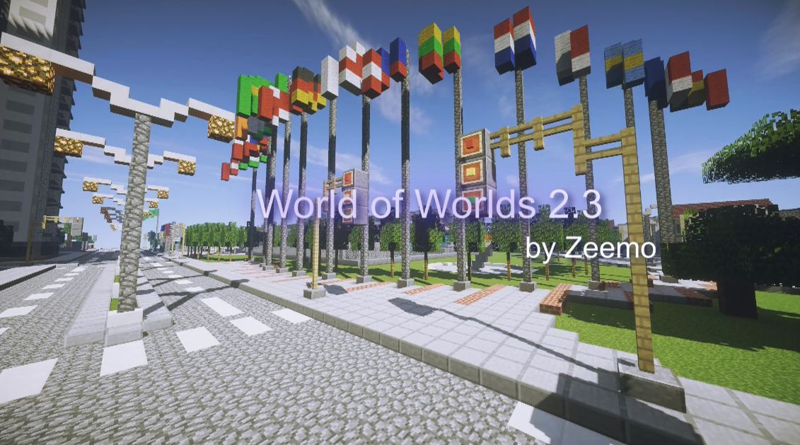 minecraft map world of worlds 2.3 drapeau