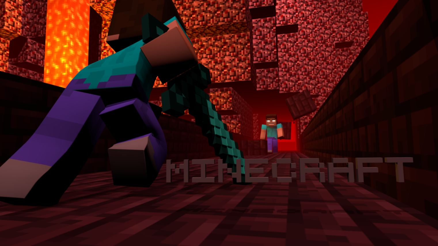 wallpaper minecraft avec un combat épique dans le nether contre Herobrine