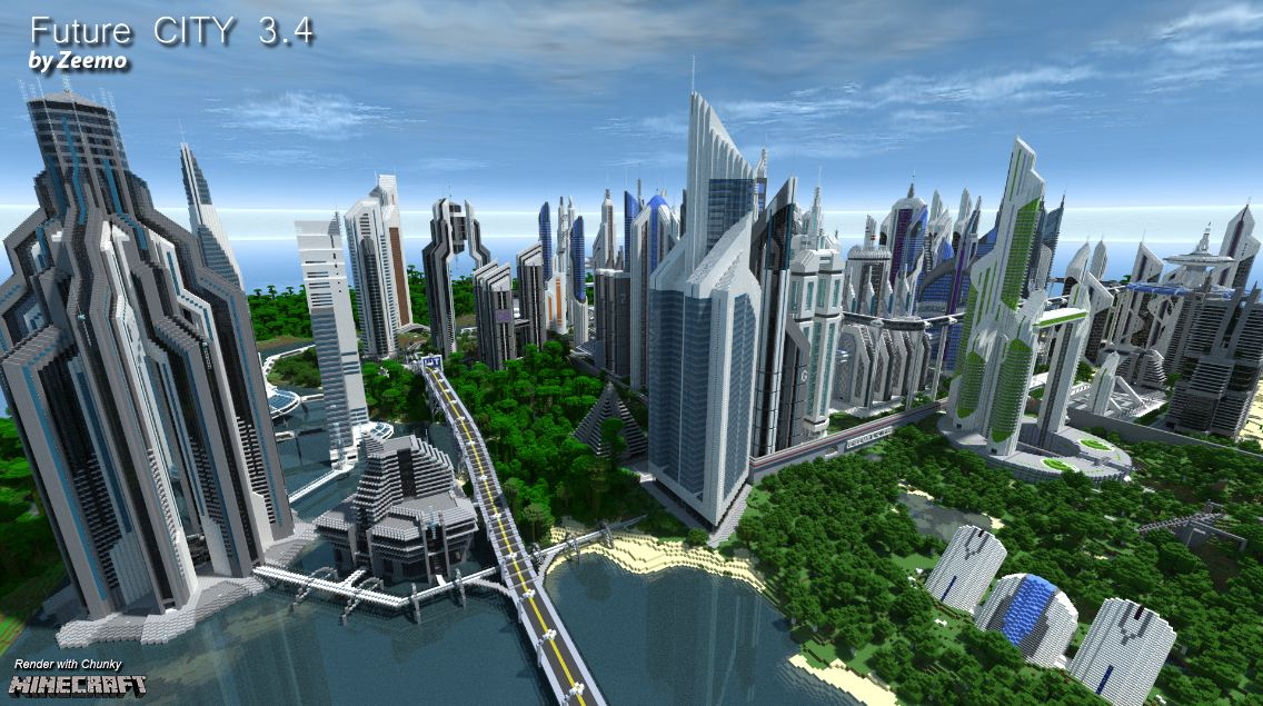 map minecraft future city 3.4 – ville magnifique