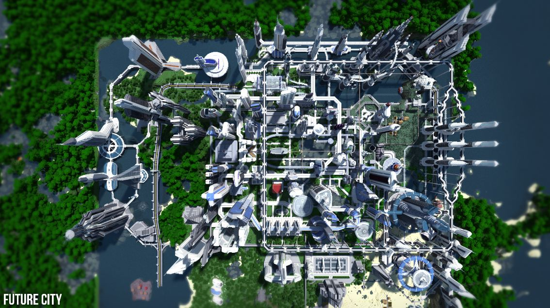 map minecraft future city 3.4 – vue de haut