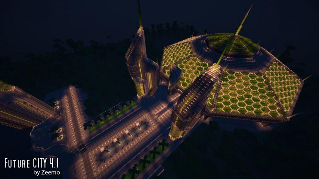 minecraft map ville future city 4.1 serre horticole de nuit