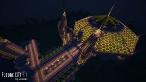 minecraft map ville future city 4.1 serre horticole de nuit
