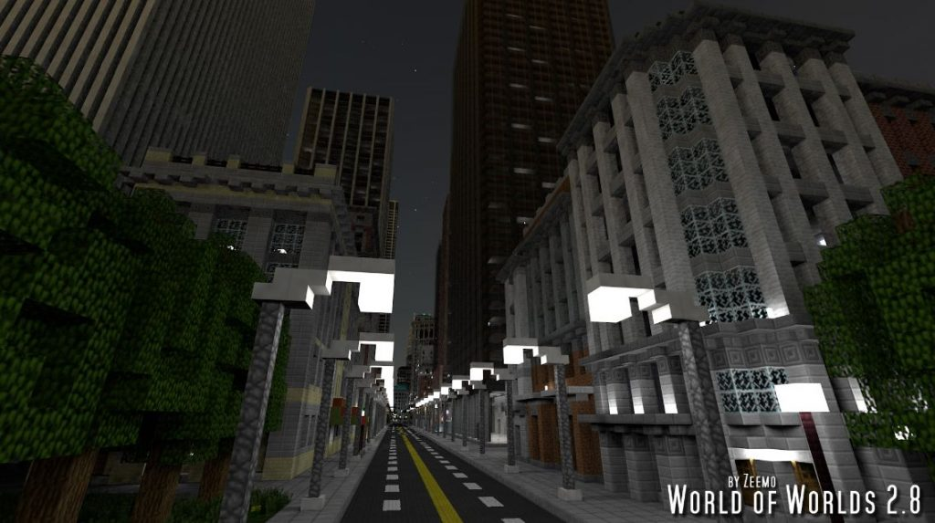 minecraft map ville world of worlds 2.8 nuit